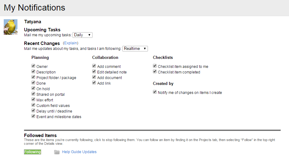 Change your notification settings here.